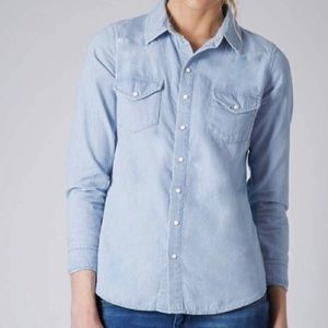 Topshop chambray pearl snap button down top